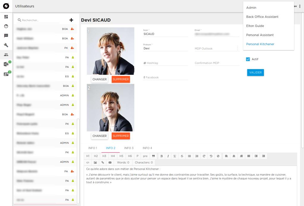 L'application MyStore gère les profils des collaborateurs de l'entreprise