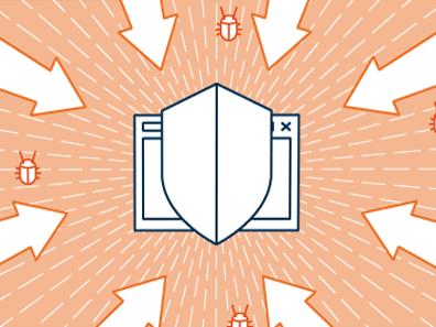 Dessin d'un bouclier protégeant une fenêtre informatique d'une attaque de virus