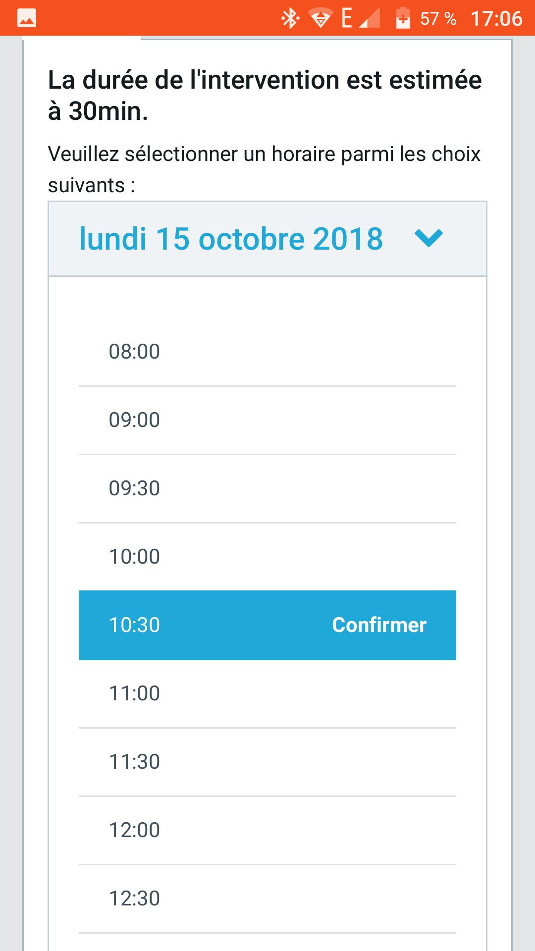 Système de sélection d'horaire en ligne